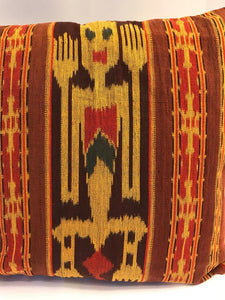 Ikat Pillow Cover, Red, Brown and Black. Cover Only with No Insert. 16inches x 16inches