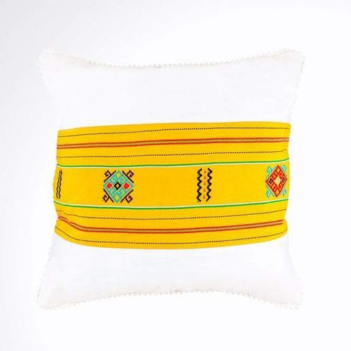 White and Yellow Ikat Pillow. Ethnic, Boho Cushion Case. Handwoven in Indonesia. 16x16