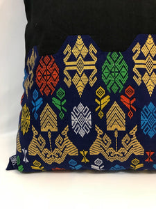 "Ikat Pillow Cover, Black and Blue. Cover Only with No Insert. 16"" x 16"""