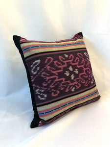 Ikat Pillow Cover, Pink and Purple. Ethnic, Boho Cushion Case. Handwoven in Indonesia. 16x16 inches