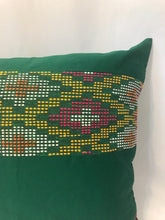 Load image into Gallery viewer, Ikat Pillow Cover, Green and Yellow. Cover Only with No Insert. 20inches x 20inches