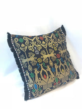 Load image into Gallery viewer, Batik, Ikat Pillow Cover, Black & Gold with Black Fringe. Ethnic, Boho Cushion Case. Handwoven in Indonesia. 20x20 inches