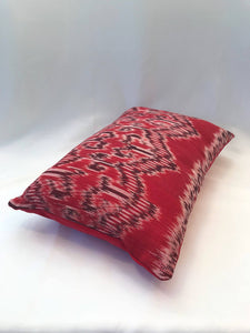 Batik, Ikat Pillow Cover, Red & Black. Ethnic, Boho Cushion Case. Handwoven in Indonesia. 12x18 inches