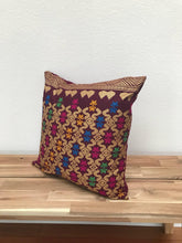 Load image into Gallery viewer, Ikat Pillow Cover, Burgundy Red and Gold. Ethnic, Boho Cushion Case. Handwoven in Indonesia. 16x16 inches