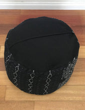 Load image into Gallery viewer, Round Ikat Pouf Ottoman, Black and White. Cover Only with No Insert. 20W x 13.5H