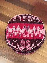 Load image into Gallery viewer, Round Ikat Pouf Ottoman, Red and Black. Ethnic, Boho Pouf, Floor Cushion. Handwoven in Indonesia.