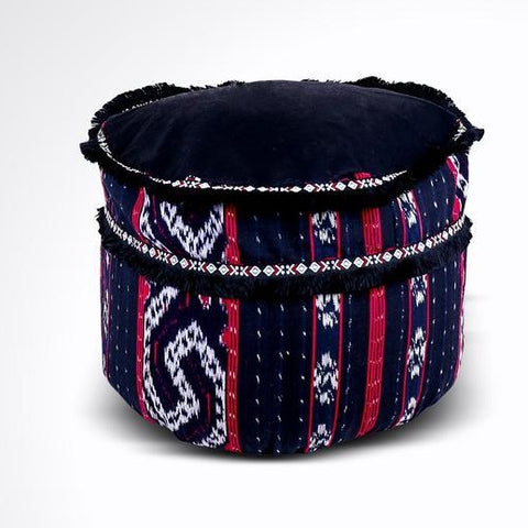 Round Ikat Pouf Ottoman, Black, Red, White. Ethnic, Boho Pouf, Floor Cushion. Handwoven in Indonesia