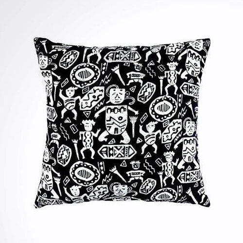 Batik, Ikat Pillow Cover, Black & White. Ethnic, Boho Cushion Case. Handwoven in Indonesia. 20x20 inches