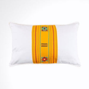 White and Yellow Ikat Pillow. Cover Only with No Insert. 12x18 inches
