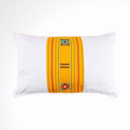 White and Yellow Ikat Pillow. Ethnic, Boho Cushion Case. Handwoven in Indonesia. 12x18 inches