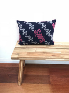 Ikat Pillow Cover, Pink & Blue. Ethnic, Boho Cushion Case. Handwoven in Indonesia. 12x18 inches