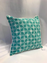 "Load image into Gallery viewer, Batik Pillow Cover, Greenish Blue. Ethnic, Boho Cushion Case. Handwoven in Indonesia. 20"" x 20"""
