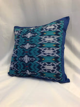 "Load image into Gallery viewer, Ikat Pillow Cover, Blue. Ethnic, Batik, Boho Cushion Case. Handwoven in Indonesia. 16"" x 16"""
