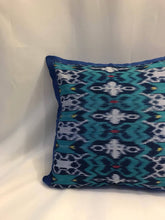 "Load image into Gallery viewer, Ikat Pillow Cover, Blue. Cover Only with No Insert. 20"" x 20"""