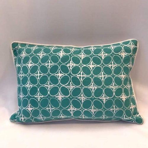 Ikat Pillow Cover,Greenish Blue and White. Ethnic, Boho Cushion Case. Handwoven in Indonesia. 12x18 inches