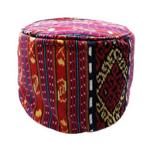 "Load image into Gallery viewer, Round Ikat Pouf Ottoman, Red. Ethnic, Boho Pouf, Floor Cushion. Handwoven in Indonesia. 20"" inches W x 13.5 inches H"