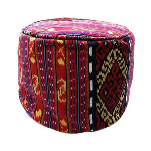 "Round Ikat Pouf Ottoman, Red. Ethnic, Boho Pouf, Floor Cushion. Handwoven in Indonesia. 20"" inches W x 13.5 inches H"