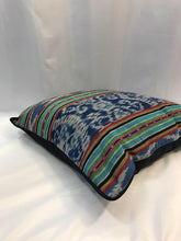 "Load image into Gallery viewer, Ikat Pillow Cover, Blue Indigo with Border. Ethnic, Boho Cushion Case. Handwoven in Indonesia. 20"" x 20"""