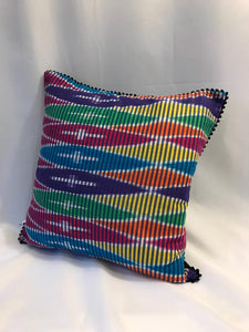 Ikat Pillow Cover, Pink Blue Yellow Colorful. Cover Only with No Insert. 16inches x 16inches