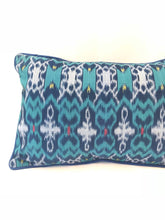 Load image into Gallery viewer, Ikat Pillow Cover, Blue. Ethnic, Boho Cushion Case. Handwoven in Indonesia. 12x18 inches