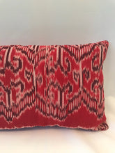 Load image into Gallery viewer, Batik, Ikat Pillow Cover, Red & Black. Ethnic, Boho Cushion Case. Handwoven in Indonesia. 12x18 inches