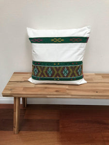 "Ikat Pillow Cover, White and Green. Ethnic, Boho Cushion Case. Handwoven in Indonesia. 20"" x 20"""