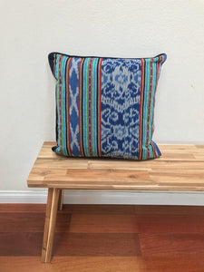"Ikat Pillow Cover, Blue Indigo with Border. Ethnic, Boho Cushion Case. Handwoven in Indonesia. 20"" x 20"""