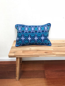 Ikat Pillow Cover, Blue. Ethnic, Boho Cushion Case. Handwoven in Indonesia. 12x18 inches