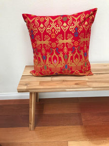 "Batik, Ikat Pillow Cover, Red & Gold. Ethnic, Boho Cushion Case. Handwoven in Indonesia. 20"" x 20"""