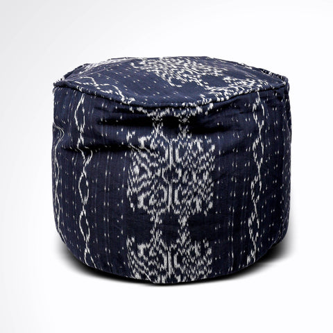 Round Ikat Pouf Ottoman, Black and White. Ethnic, Boho Pouf, Floor Cushion. Handwoven in Indonesia. 20W x 13.5H
