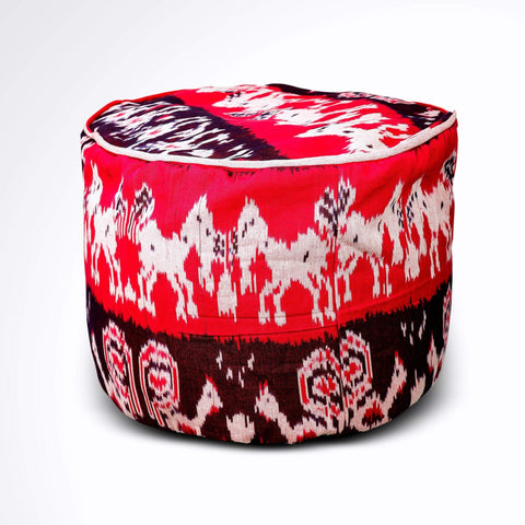 Round Ikat Pouf Ottoman, Red and Black. Ethnic, Boho Pouf, Floor Cushion. Handwoven in Indonesia.