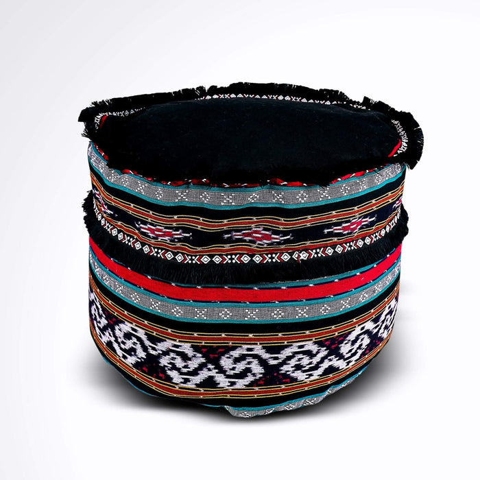 Round Ikat Pouf Ottoman, Black, Red and Green. Cover Only with No Insert.