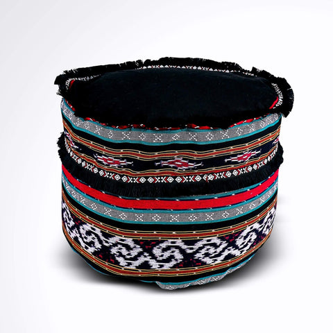 Round Ikat Pouf Ottoman, Black, Red and Green. Ethnic, Boho Pouf, Floor Cushion. Handwoven in Indonesia.