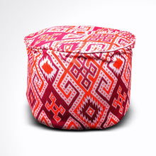 Load image into Gallery viewer, Round Ikat Pouf Ottoman, Orange and Red. Ethnic, Boho Pouf, Floor Cushion. Handwoven in Indonesia.