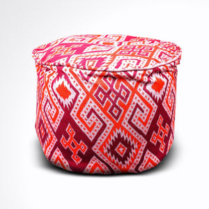 Round Ikat Pouf Ottoman, Orange and Red. Ethnic, Boho Pouf, Floor Cushion. Handwoven in Indonesia.