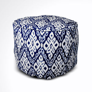 Round Ikat Pouf Ottoman, Dark Blue. Cover Only with No Insert.