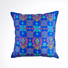 Load image into Gallery viewer, Ikat Pillow Cover, Blue. Cover Only with No Insert. 16inches x 16inches