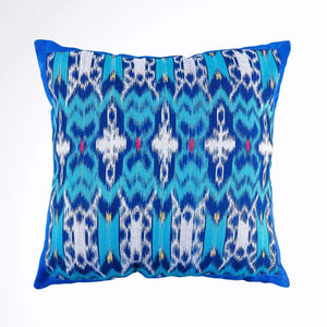 """Ikat Pillow Cover, Blue. Cover Only with No Insert. 16"""" x 16"""""""