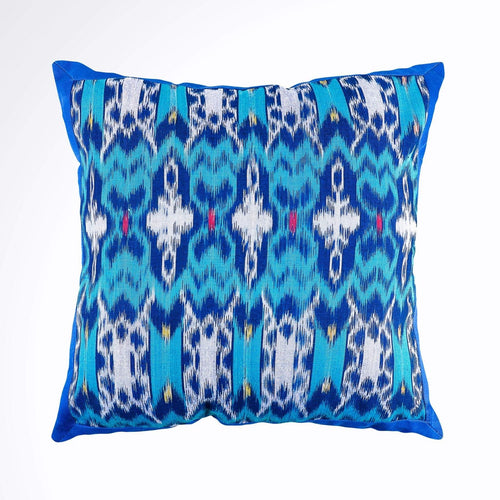Ikat Pillow Cover, Blue. Ethnic, Batik, Boho Cushion Case. Handwoven in Indonesia. 16