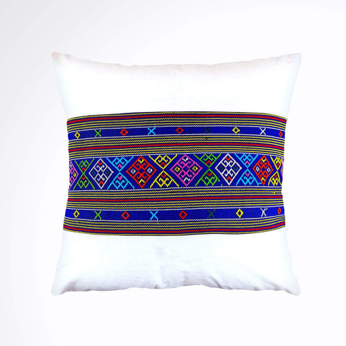 Ikat Pillow Cover, Blue and White. Ethnic, Batik, Boho Cushion Case. Handwoven in Indonesia. 18