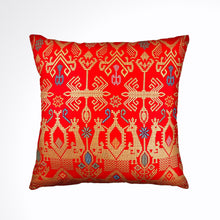 "Load image into Gallery viewer, Batik, Ikat Pillow Cover, Red & Gold. Ethnic, Boho Cushion Case. Handwoven in Indonesia. 20"" x 20"""
