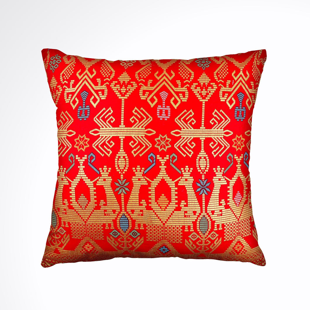Batik, Ikat Pillow Cover, Red & Gold. Ethnic, Boho Cushion Case. Handwoven in Indonesia. 20
