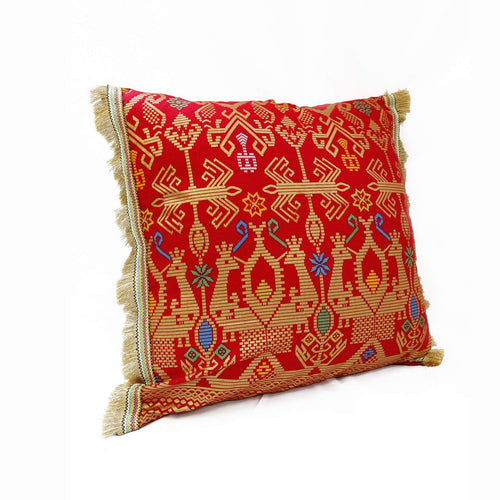 Batik, Ikat Pillow Cover, Red & Gold with Gold Fringe. Ethnic, Boho Cushion Case. Handwoven in Indonesia. 20inches x 20inches