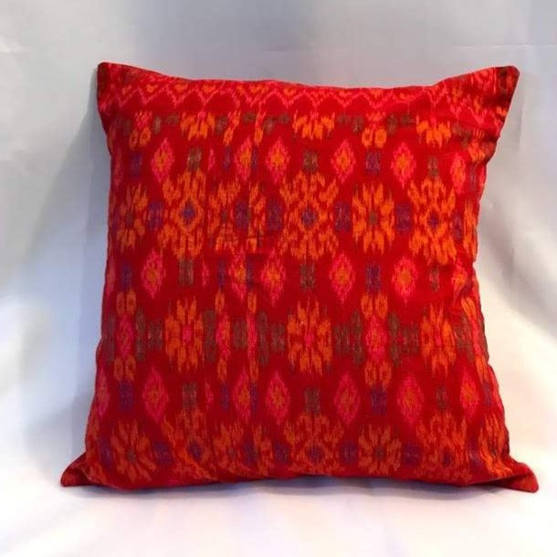 Batik Pillow Cover, Red. Cover Only with No Insert. 16inches x 16inches