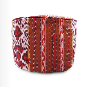 Round Ikat Pouf Ottoman, Red and Brown. Cover Only with No Insert.