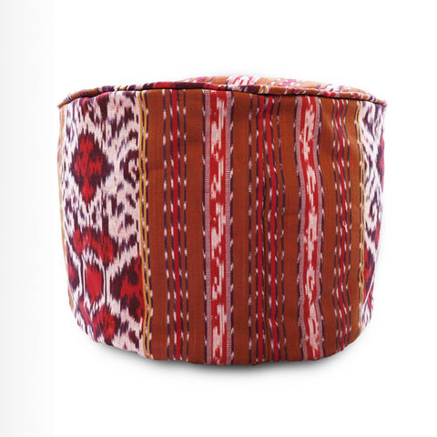 Round Ikat Pouf Ottoman, Red and Brown. Ethnic, Boho Pouf, Floor Cushion. Handwoven in Indonesia