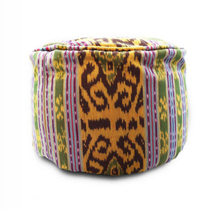 Round Ikat Pouf Ottoman, Dark Green. Cover Only with No Insert.