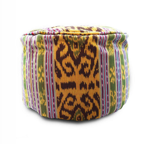 Round Ikat Pouf Ottoman, Dark Green. Ethnic, Boho Pouf, Floor Cushion. Handwoven in Indonesia.