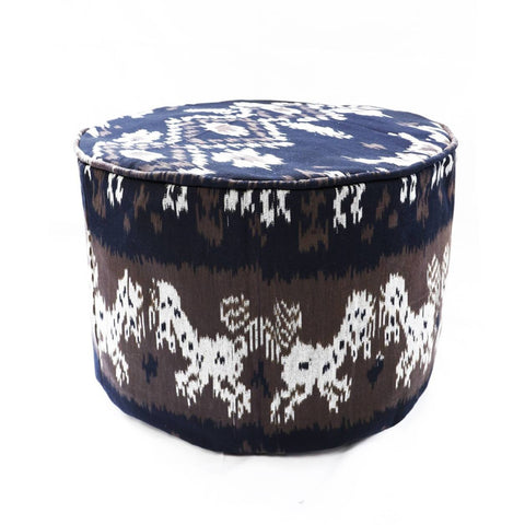 Round Ikat Pouf Ottoman, Brown. Ethnic, Boho Pouf, Floor Cushion. Handwoven in Indonesia.