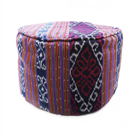Round Ikat Pouf Ottoman, Purple. Ethnic, Boho Pouf, Floor Cushion. Handwoven in Indonesia